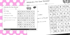 Australia - Multiplication Dice Game Activity Sheet