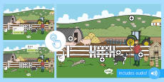 Farm Themed Oral Blending and Segmenting Phonics Picture Hotspots
