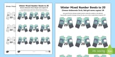 Winter-Themed Mixed Number Bonds to 20 Activity Sheet English/Polish