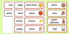 Pizza Shop Role Play Word Cards