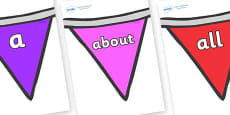 100 High Frequency Words on Bunting  (Multicolour)
