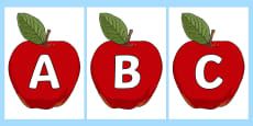 A-Z Alphabet on Red Apples