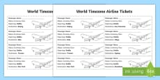 World Timezones Airline Ticket Activity