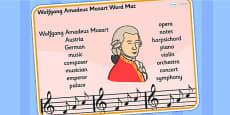 Woflgang Amadeus Mozart Word Mat