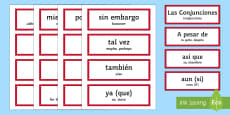 Spanish Conjunctions Word Cards