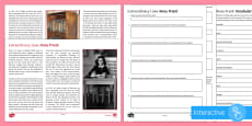 Extraordinary Lives: Anne Frank Differentiated Comprehension Go Respond Activity Sheets