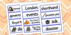 Samuel Pepys Word Cards