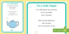 I'm a Little Teapot Nursery Rhyme Large Display Poster