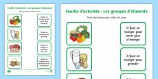 Feuille d'activités avec des mots et des images à relier : Les groupes d'aliments - La santé