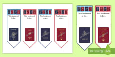 Passport Themed Bookmarks