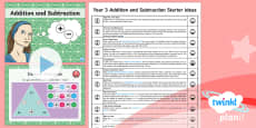 PlanIt Y3 Addition and Subtraction Starter Ideas Pack