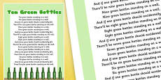 Ten Green Bottles Nursery Rhyme Poster