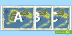 A-Z Alphabet on Treasure Maps