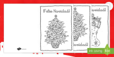 Mindfulness Colouring Christmas Cards Spanish