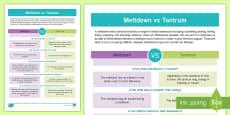 Meltdown vs Tantrum Information Sheet