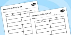 Alternative Spellings for igh Table Activity Sheets
