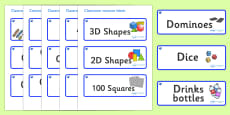 Sapphire Blue Themed Editable Classroom Resource Labels