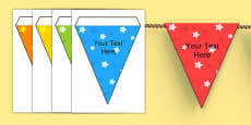 Editable Patterned Bunting Stars