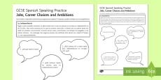 Jobs, Career Choices and Ambitions Speaking Practice Activity Sheet