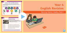 Year 4 English Revision Morning Starter Weekly PowerPoint Pack 1