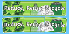 Eco And Recycling Reduce Reuse Recycle Display Banner