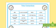 Time Connectives Word Mat