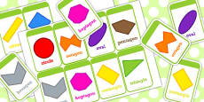 2D Shape Flash Cards Irregular and Different Orientations