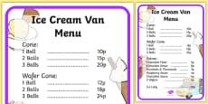 Ice Cream Van Role Play Menu