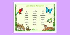 Jungle & Rainforest Word Mat (Text Version)