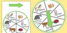 Animal Category Spinner