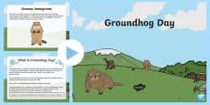 Groundhog Day PowerPoint Grades Kindergarten to 2nd PowerPoint