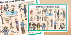 Classroom Instructions Display Poster Portuguese