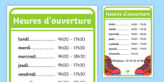 Shoe Shop Role Play Opening Times French