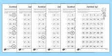 Jumbled Up Number Ordering Differentiated Activity Sheet