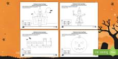 Halloween Themed Colour by 2D Shape Activity Sheet Polish Translation