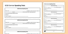 GCSE German Speaking Test Appointment Slip Template