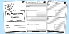 Class Vocabulary Journal Writing Frames