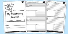 Class Vocabulary Journal Writing Frames