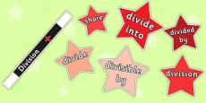 Maths Magician 4 Operations Vocabulary Division Cut Outs