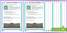 KS1 The Queen's Birthday Differentiated Comprehension Go Respond Activity Sheets