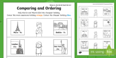 Where in the World Shall We Go? Comparing and Ordering Activity Sheet