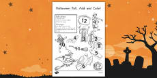Halloween Roll and Color Activity Sheet