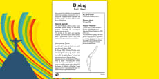 The Olympics Diving Fact Sheet