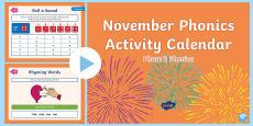 * NEW * Phase 2 November Phonics Activity Calendar PowerPoint