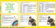 The Olympics Rio 2016 lks2 Maths Challenge Cards Romanian Translation