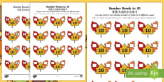Autumn Leaf Number Bonds to 10 Activity Sheet English/Mandarin Chinese