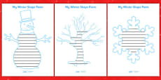 Winter Themed Shape Poetry Templates