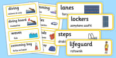 Swimming Pool Word Cards Polish Translation