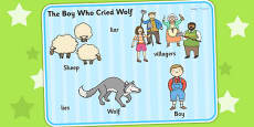 The Boy Who Cried Wolf Word Mat