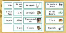 Pirates Word Cards Spanish/Español